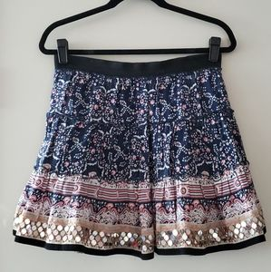 Free People Blue & Pink Sequin Skirt